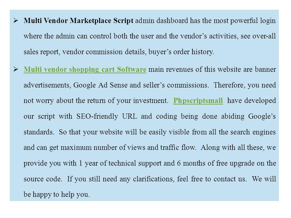 Multi vendor shopping cart Script | Multi vendor shopping
