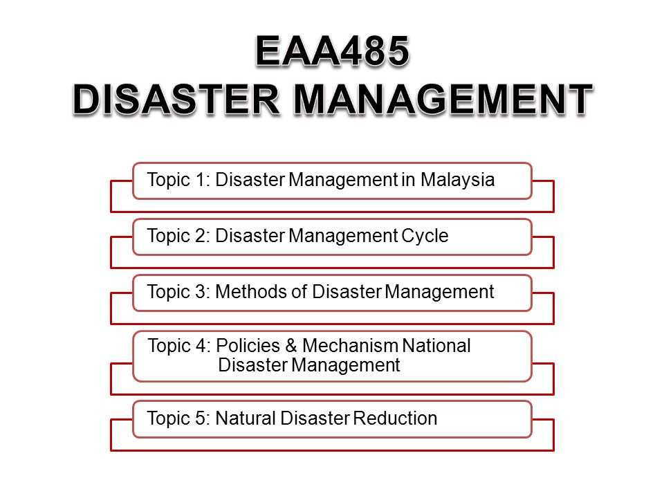 Topic 1: Disaster Management in MalaysiaTopic 2: Disaster