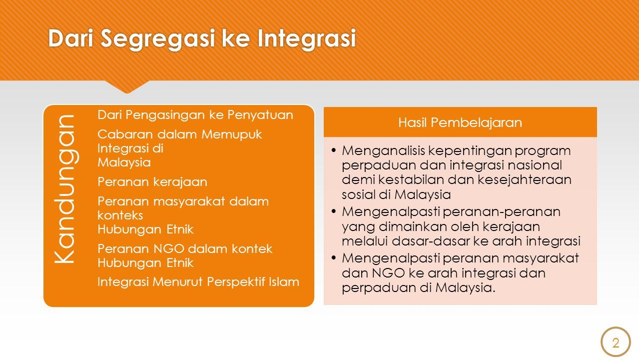 Hubungan Etnik Mahyuddin Khalid Mohd Ashrof Zaki Yaakob Dari Segregasi Ke Integrasi Ppt Download
