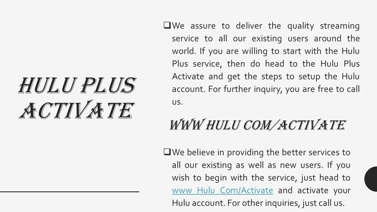 HULU ACTIVATION CODE TOLL FREE ( ) For more details visit