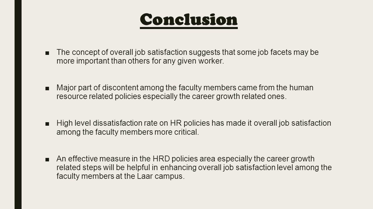 job satisfaction conclusion