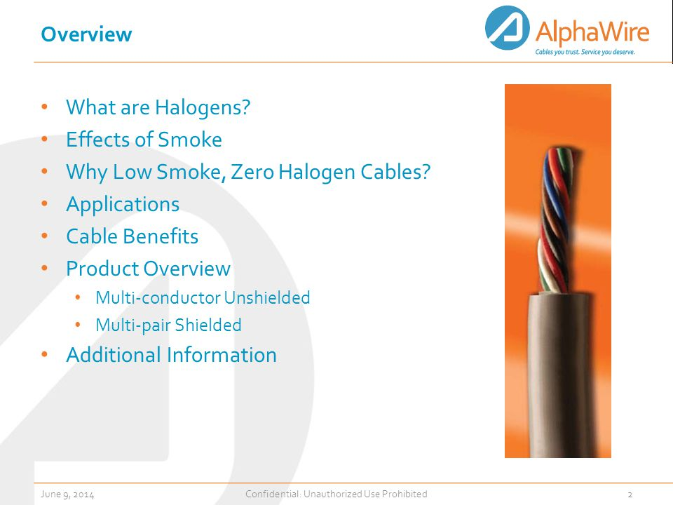 Overview What are Halogens. Effects of Smoke Why Low Smoke, Zero Halogen Cables.