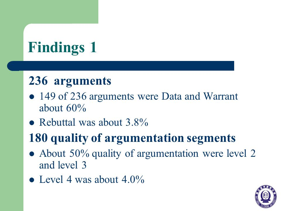 Findings 1 236 arguments 149 of 236 arguments were Data and Warrant about 60% Rebuttal was about 3.8% 180 quality of argumentation segments About 50% quality of argumentation were level 2 and level 3 Level 4 was about 4.0%