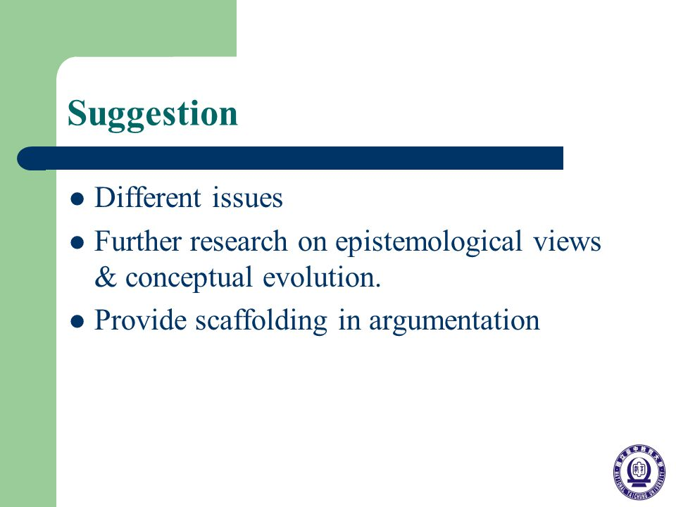 Suggestion Different issues Further research on epistemological views & conceptual evolution.