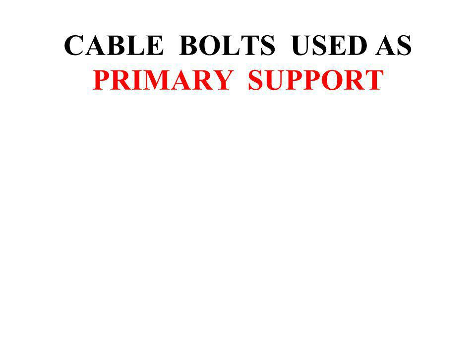 CABLE BOLTS USED AS PRIMARY SUPPORT