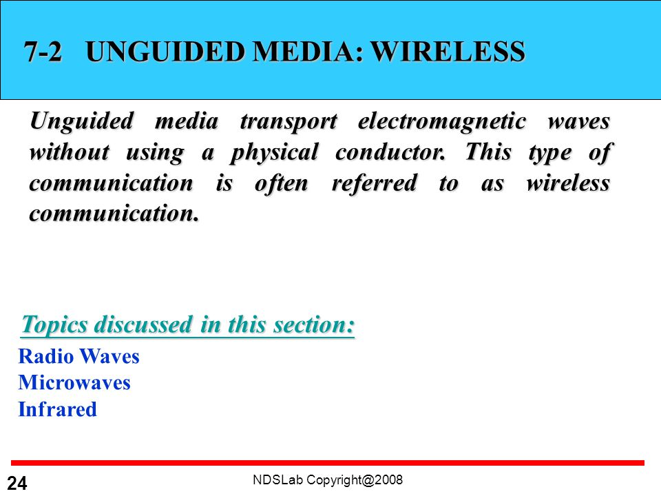 NDSLab UNGUIDED MEDIA: WIRELESS Unguided media transport electromagnetic waves without using a physical conductor.