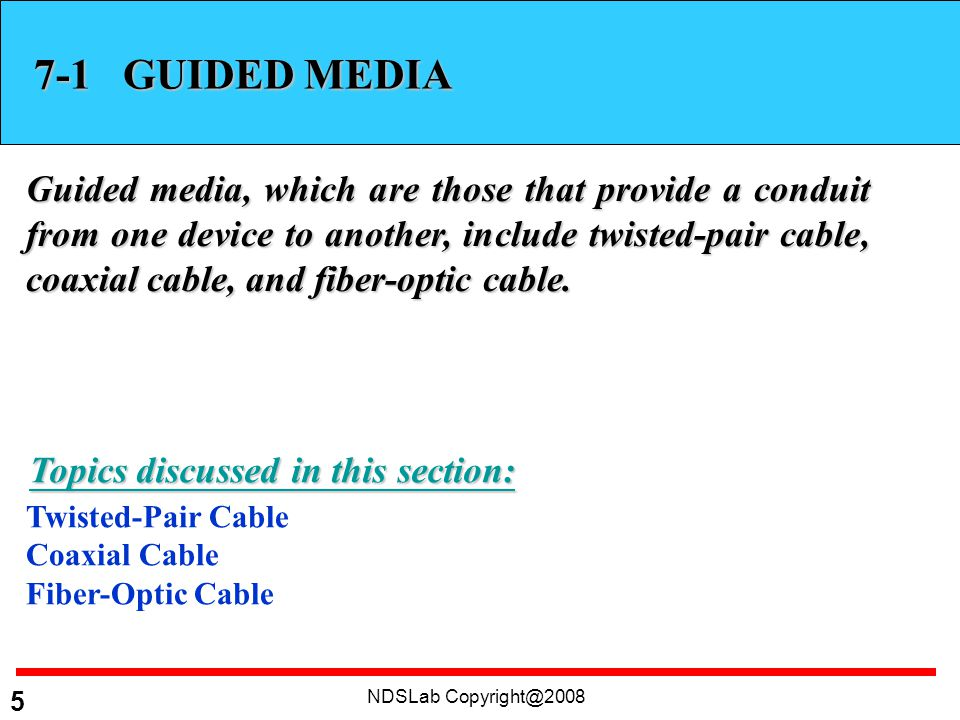 NDSLab GUIDED MEDIA Guided media, which are those that provide a conduit from one device to another, include twisted-pair cable, coaxial cable, and fiber-optic cable.