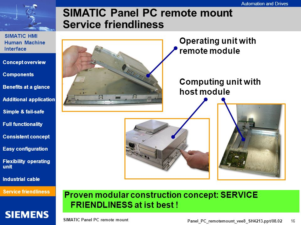 Automation and Drives SIMATIC HMI Human Machine Interface Panel_PC_remotemount_vee8_SH4213.ppt/ SIMATIC Panel PC remote mount SIMATIC Panel PC remote mount Service friendliness Proven modular construction concept: SERVICE FRIENDLINESS at ist best .