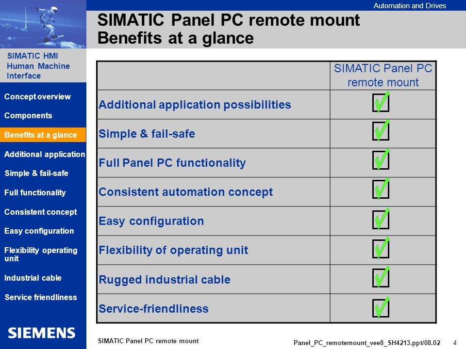 Automation and Drives SIMATIC HMI Human Machine Interface Panel_PC_remotemount_vee8_SH4213.ppt/ SIMATIC Panel PC remote mount SIMATIC Panel PC remote mount Benefits at a glance SIMATIC Panel PC remote mount Additional application possibilities Simple & fail-safe Full Panel PC functionality Consistent automation concept Easy configuration Flexibility of operating unit Rugged industrial cable Service-friendliness Components Additional application Benefits at a glance Consistent concept Simple & fail-safe Service friendliness Concept overview Full functionality Flexibility operating unit Industrial cable Easy configuration
