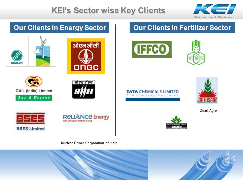KEIs Sector wise Key Clients Our Clients in Energy Sector Nuclear Power Corporation of India Zuari Agro Our Clients in Fertilizer Sector