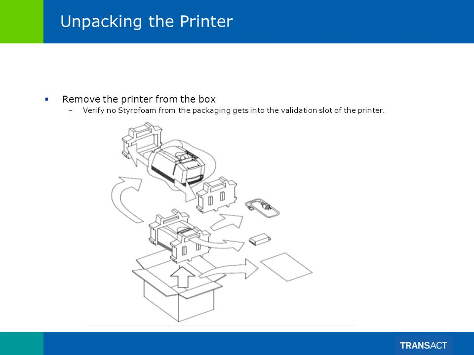 Unpacking the Printer Remove the printer from the box –Verify no Styrofoam from the packaging gets into the validation slot of the printer.