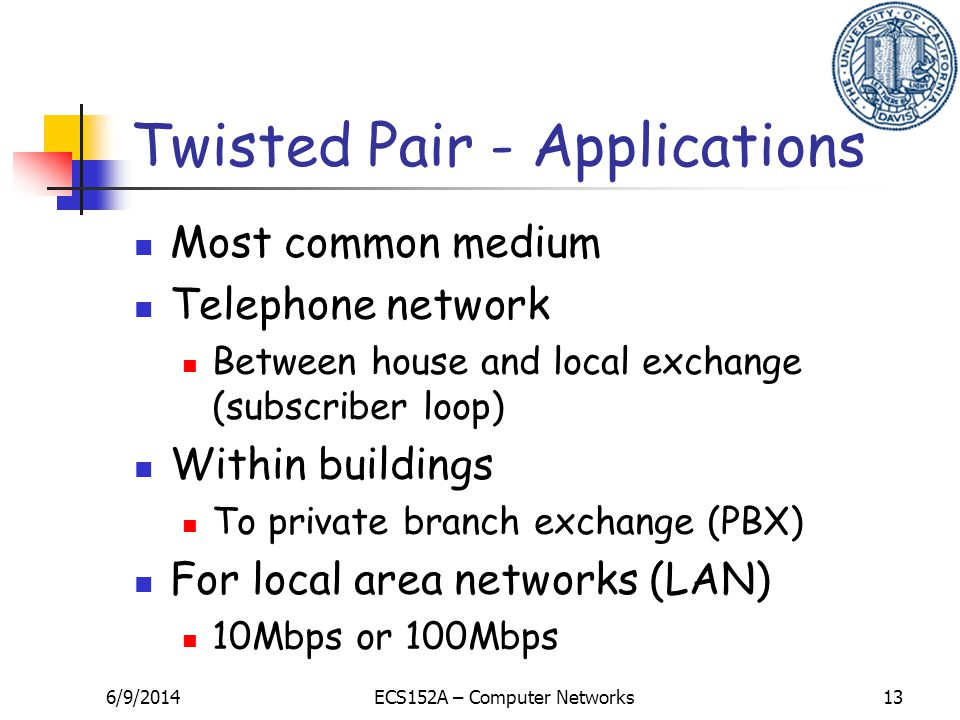 6/9/2014ECS152A – Computer Networks13 Twisted Pair - Applications Most common medium Telephone network Between house and local exchange (subscriber loop) Within buildings To private branch exchange (PBX) For local area networks (LAN) 10Mbps or 100Mbps