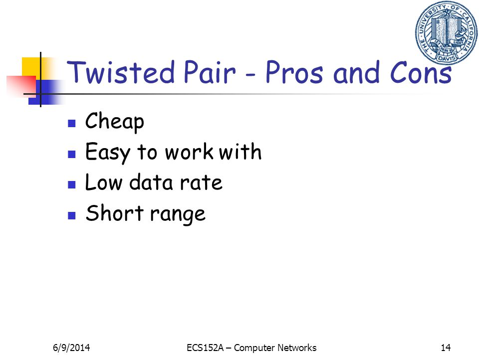 6/9/2014ECS152A – Computer Networks14 Twisted Pair - Pros and Cons Cheap Easy to work with Low data rate Short range