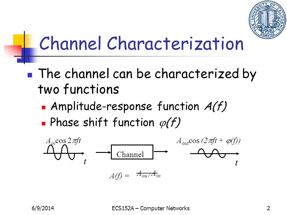 6/9/2014ECS152A – Computer Networks2 A ou / A in Channel t t A in cos 2 ftA out cos (2 ft + (f)) A(f) = The channel can be characterized by two functions Amplitude-response function A(f) Phase shift function (f) Channel Characterization