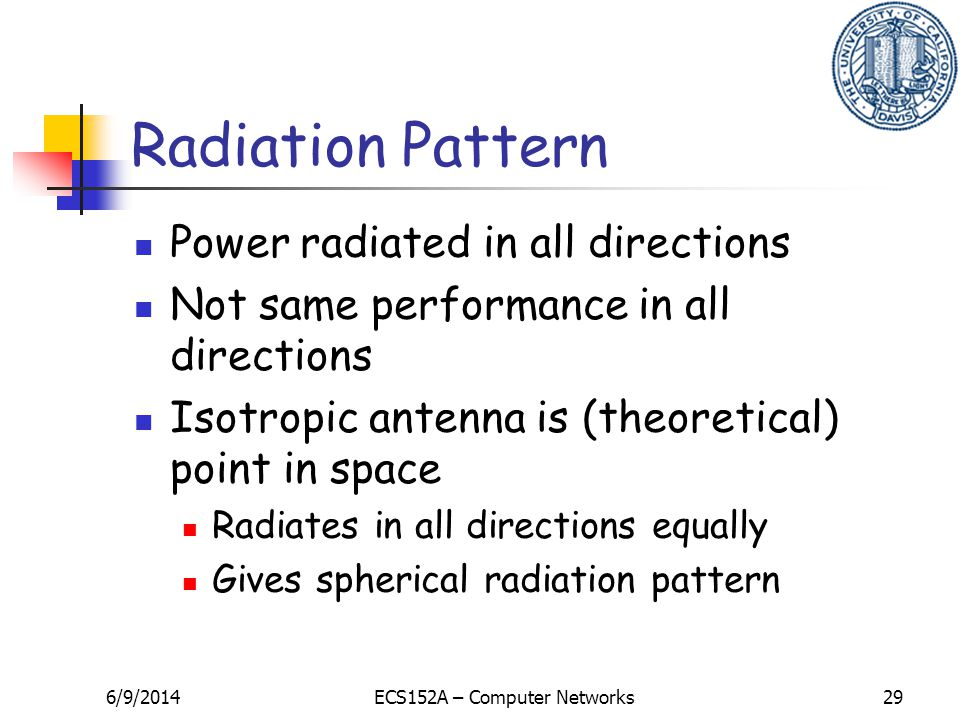 6/9/2014ECS152A – Computer Networks29 Radiation Pattern Power radiated in all directions Not same performance in all directions Isotropic antenna is (theoretical) point in space Radiates in all directions equally Gives spherical radiation pattern