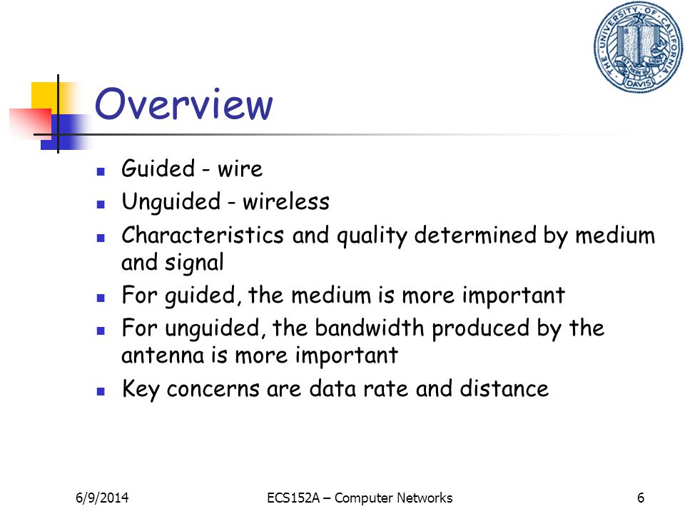 6/9/2014ECS152A – Computer Networks6 Overview Guided - wire Unguided - wireless Characteristics and quality determined by medium and signal For guided, the medium is more important For unguided, the bandwidth produced by the antenna is more important Key concerns are data rate and distance