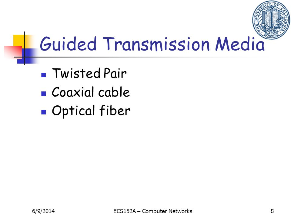 6/9/2014ECS152A – Computer Networks8 Guided Transmission Media Twisted Pair Coaxial cable Optical fiber