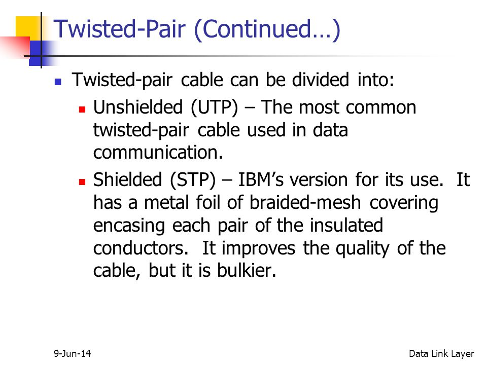 9-Jun-14Data Link Layer Twisted-Pair (Continued…) Twisted-pair cable can be divided into: Unshielded (UTP) – The most common twisted-pair cable used in data communication.