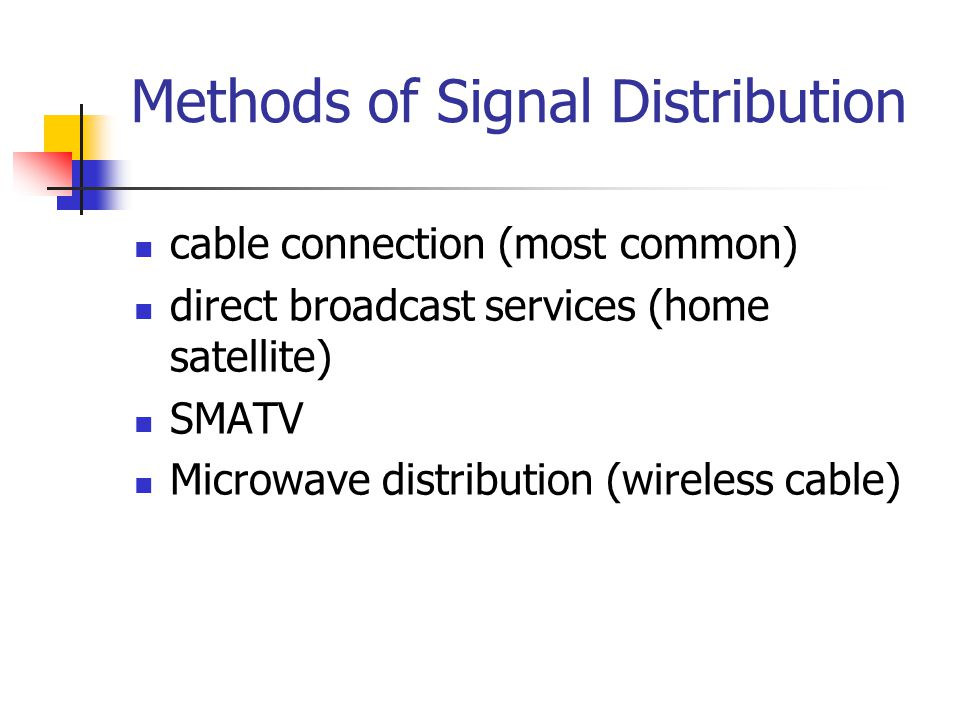 Methods of Signal Distribution cable connection (most common) direct broadcast services (home satellite) SMATV Microwave distribution (wireless cable)