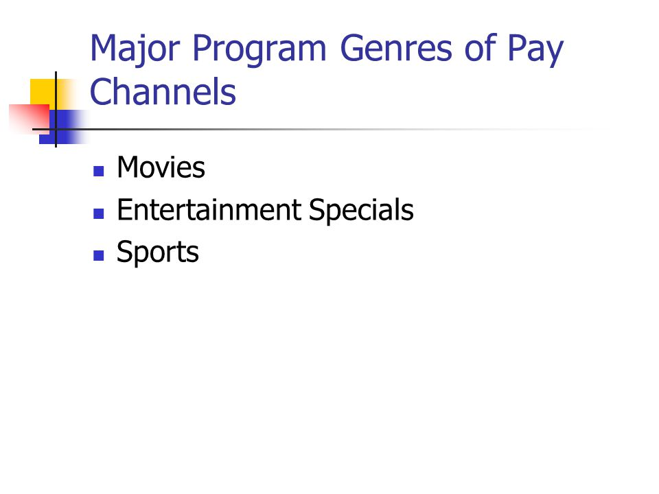Major Program Genres of Pay Channels Movies Entertainment Specials Sports