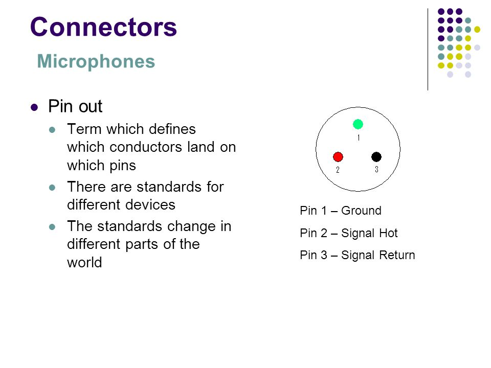 3 connectors microphones pin out term which defines which conductors land  on which pins there are standards for different devices the standards  change in