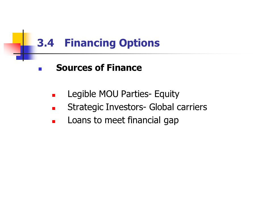 3.4Financing Options Sources of Finance Legible MOU Parties- Equity Strategic Investors- Global carriers Loans to meet financial gap