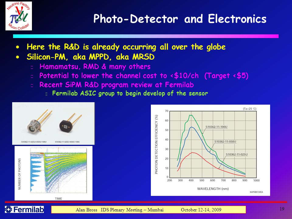 19 Alan Bross IDS Plenary Meeting – Mumbai October 12-14, 2009 Photo-Detector and Electronics Here the R&D is already occurring all over the globe Silicon-PM, aka MPPD, aka MRSD u Hamamatsu, RMD & many others u Potential to lower the channel cost to <$10/ch (Target <$5) u Recent SiPM R&D program review at Fermilab s Fermilab ASIC group to begin develop of the sensor