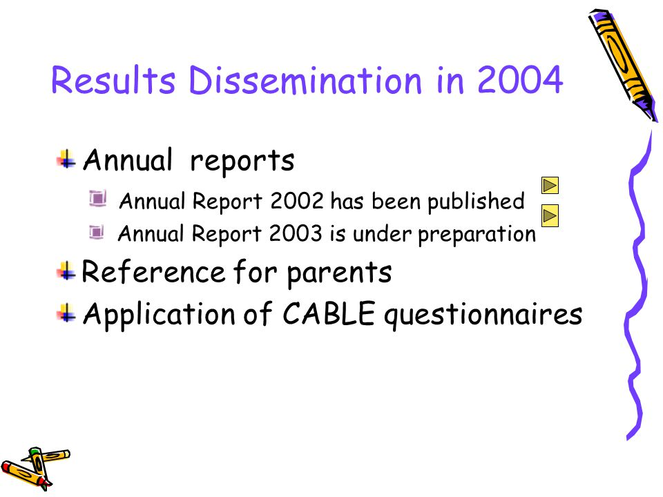 Results Dissemination in 2004 Annual reports Annual Report 2002 has been published Annual Report 2003 is under preparation Reference for parents Application of CABLE questionnaires