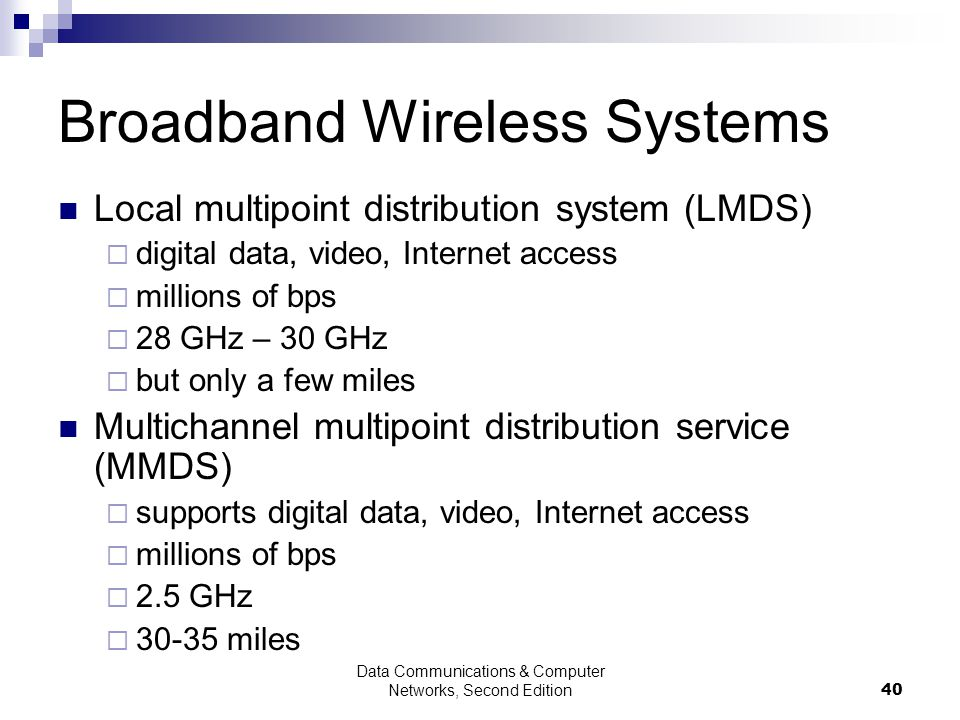Data Communications & Computer Networks, Second Edition40 Broadband Wireless Systems Local multipoint distribution system (LMDS) digital data, video, Internet access millions of bps 28 GHz – 30 GHz but only a few miles Multichannel multipoint distribution service (MMDS) supports digital data, video, Internet access millions of bps 2.5 GHz 30-35 miles