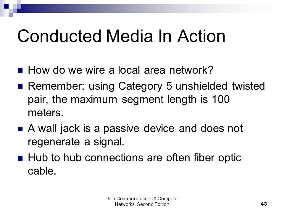 Data Communications & Computer Networks, Second Edition43 Conducted Media In Action How do we wire a local area network.