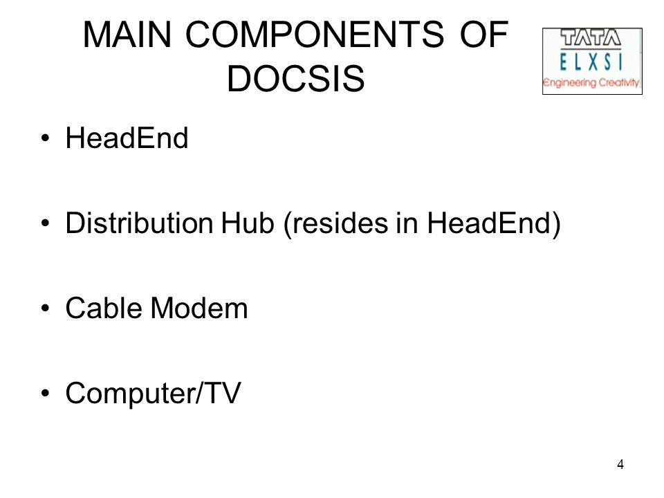 4 MAIN COMPONENTS OF DOCSIS HeadEnd Distribution Hub (resides in HeadEnd) Cable Modem Computer/TV