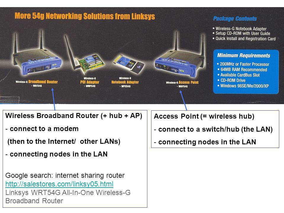 Wireless Broadband Router (+ hub + AP) - connect to a modem (then to the Internet/ other LANs) - connecting nodes in the LAN Google search: internet sharing router http://salestores.com/linksy05.html Linksys WRT54G All-In-One Wireless-G Broadband Router Access Point (= wireless hub) - connect to a switch/hub (the LAN) - connecting nodes in the LAN