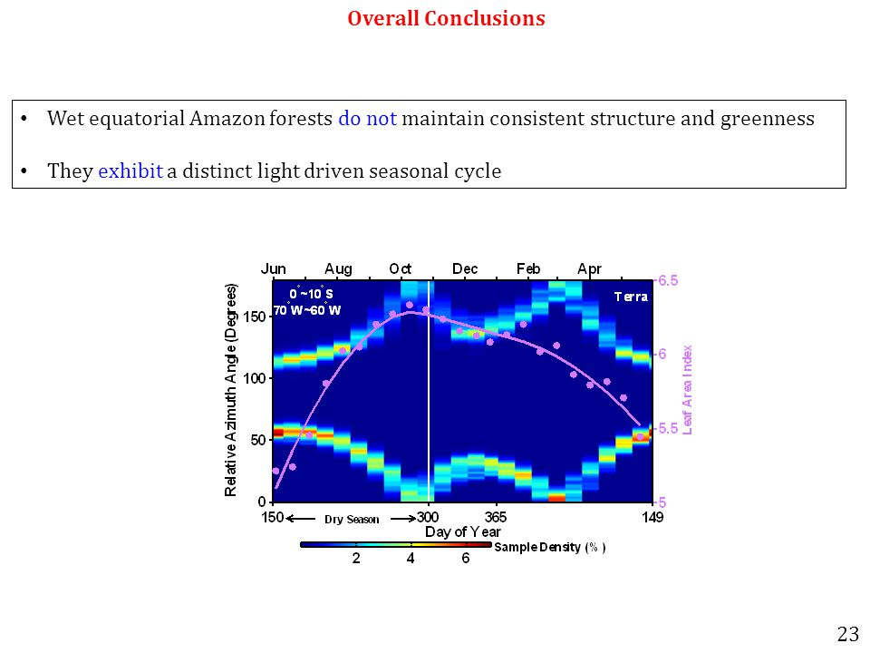 Overall Conclusions Wet equatorial Amazon forests do not maintain consistent structure and greenness They exhibit a distinct light driven seasonal cycle 23