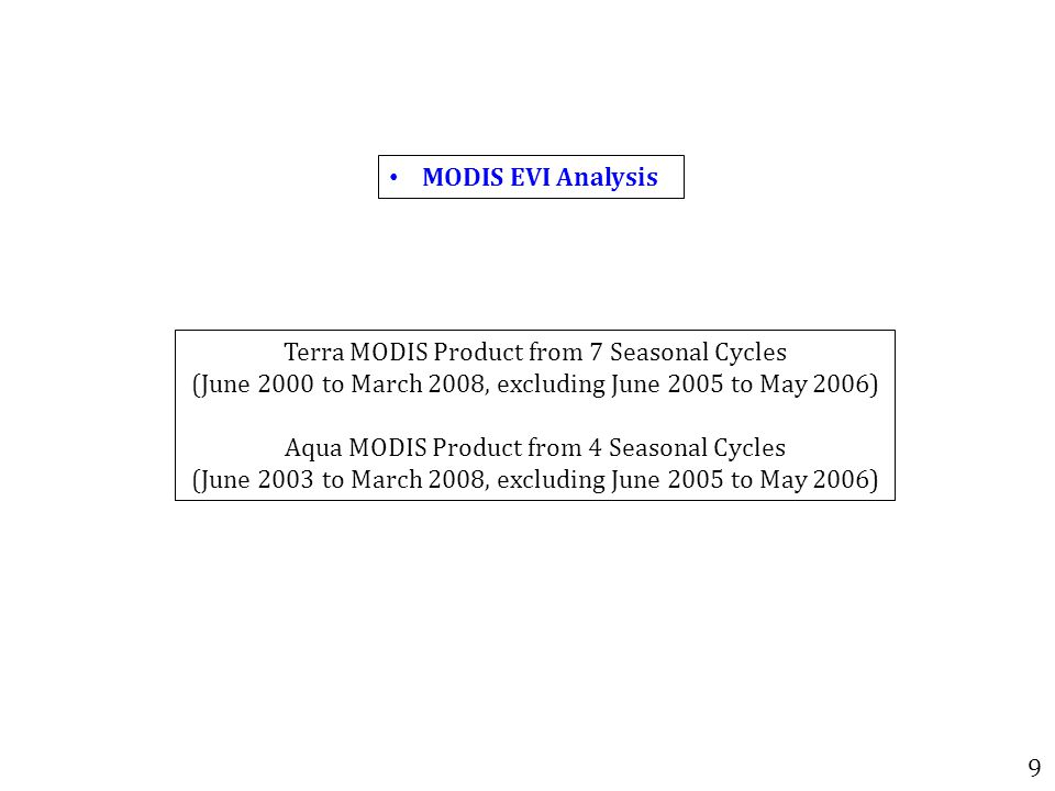 MODIS EVI Analysis 9 Terra MODIS Product from 7 Seasonal Cycles (June 2000 to March 2008, excluding June 2005 to May 2006) Aqua MODIS Product from 4 Seasonal Cycles (June 2003 to March 2008, excluding June 2005 to May 2006)