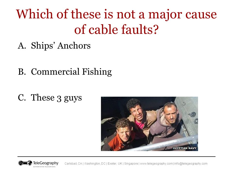 Carlsbad, CA | Washington, DC | Exeter, UK | Singapore | www.telegeography.com | info@telegeography.com Which of these is not a major cause of cable faults.