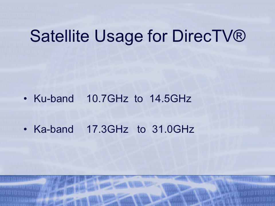 Satellite Usage for DirecTV® Ku-band 10.7GHz to 14.5GHz Ka-band 17.3GHz to 31.0GHz