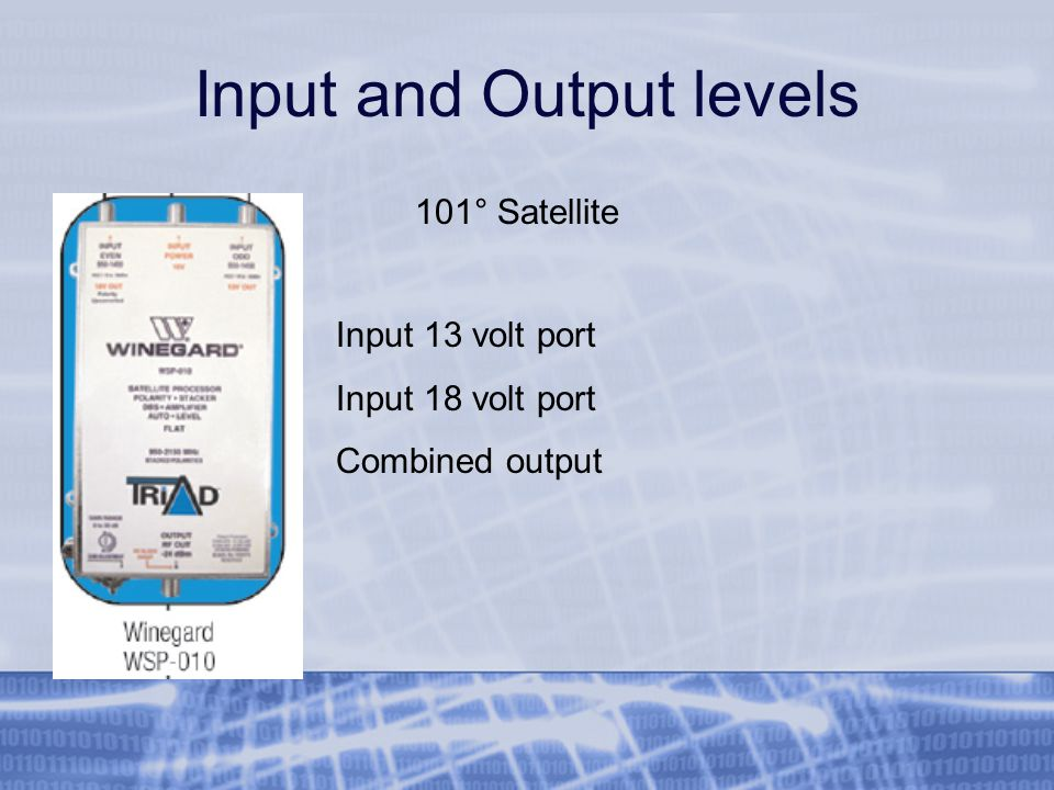 Input and Output levels Input 13 volt port Input 18 volt port Combined output 101° Satellite