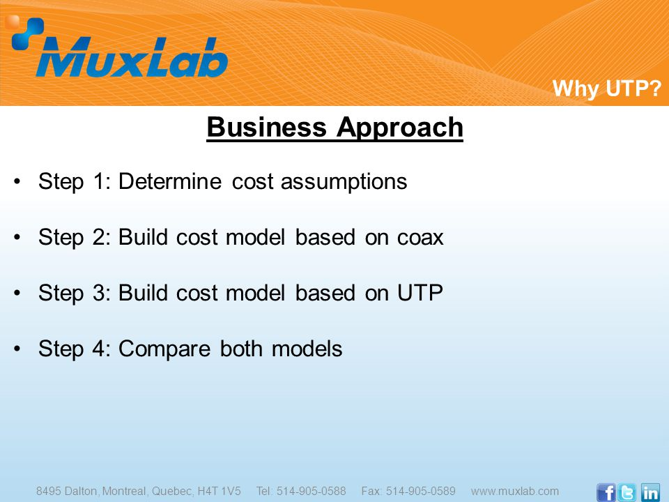 Step 1: Determine cost assumptions Step 2: Build cost model based on coax Step 3: Build cost model based on UTP Step 4: Compare both models Why UTP.