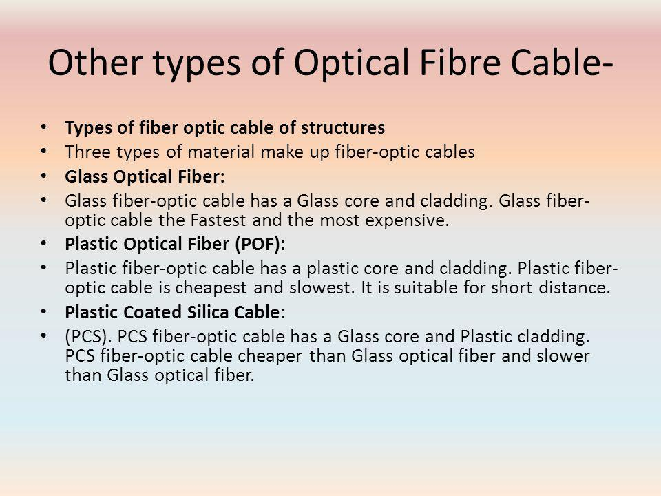 Other types of Optical Fibre Cable- Types of fiber optic cable of structures Three types of material make up fiber-optic cables Glass Optical Fiber: Glass fiber-optic cable has a Glass core and cladding.