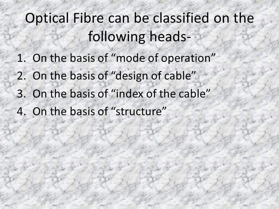 Optical Fibre can be classified on the following heads- 1.On the basis of mode of operation 2.On the basis of design of cable 3.On the basis of index of the cable 4.On the basis of structure