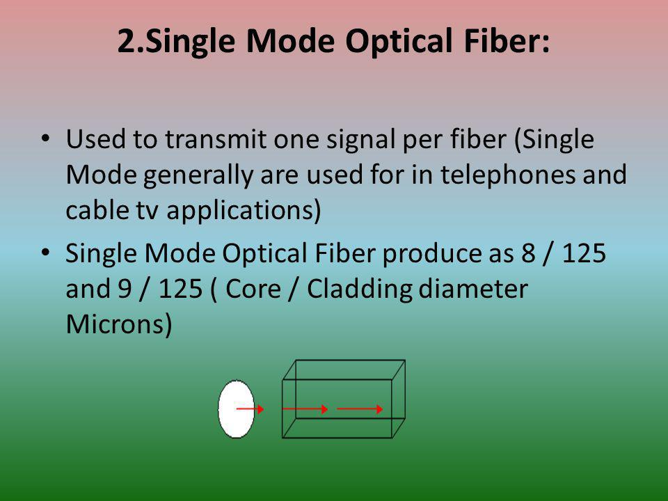 2.Single Mode Optical Fiber: Used to transmit one signal per fiber (Single Mode generally are used for in telephones and cable tv applications) Single Mode Optical Fiber produce as 8 / 125 and 9 / 125 ( Core / Cladding diameter Microns)
