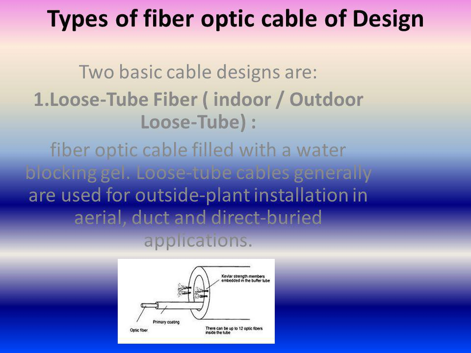 Types of fiber optic cable of Design Two basic cable designs are: 1.Loose-Tube Fiber ( indoor / Outdoor Loose-Tube) : fiber optic cable filled with a water blocking gel.
