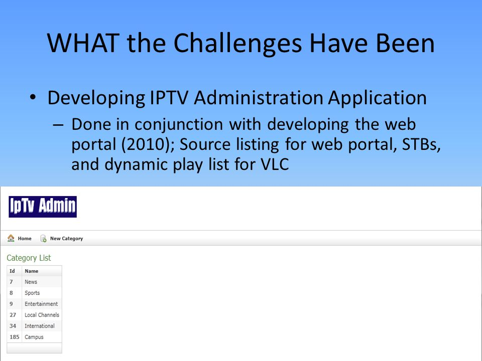 WHAT the Challenges Have Been Developing IPTV Administration Application – Done in conjunction with developing the web portal (2010); Source listing for web portal, STBs, and dynamic play list for VLC