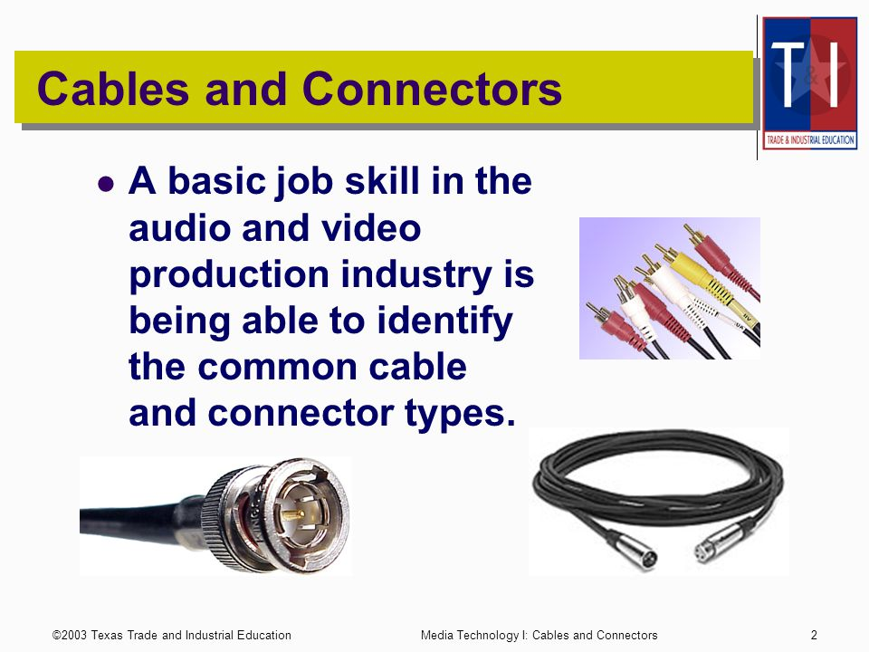 ©2003 Texas Trade and Industrial Education1 Media Technology Cables and Connectors