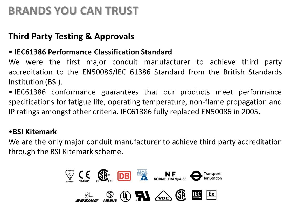 Third Party Testing & Approvals IEC61386 Performance Classification Standard We were the first major conduit manufacturer to achieve third party accreditation to the EN50086/IEC 61386 Standard from the British Standards Institution (BSI).