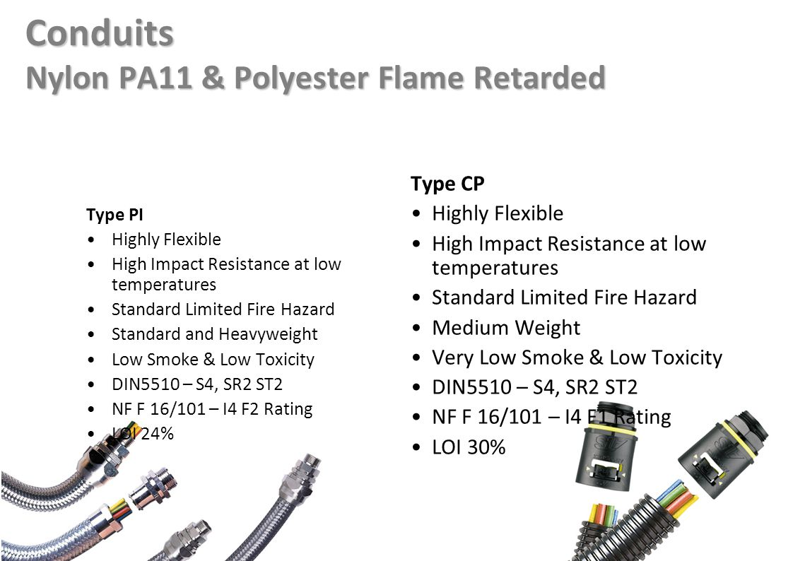 Conduits Nylon PA11 & Polyester Flame Retarded Type PI Highly Flexible High Impact Resistance at low temperatures Standard Limited Fire Hazard Standard and Heavyweight Low Smoke & Low Toxicity DIN5510 – S4, SR2 ST2 NF F 16/101 – I4 F2 Rating LOI 24% Type CP Highly Flexible High Impact Resistance at low temperatures Standard Limited Fire Hazard Medium Weight Very Low Smoke & Low Toxicity DIN5510 – S4, SR2 ST2 NF F 16/101 – I4 F1 Rating LOI 30%
