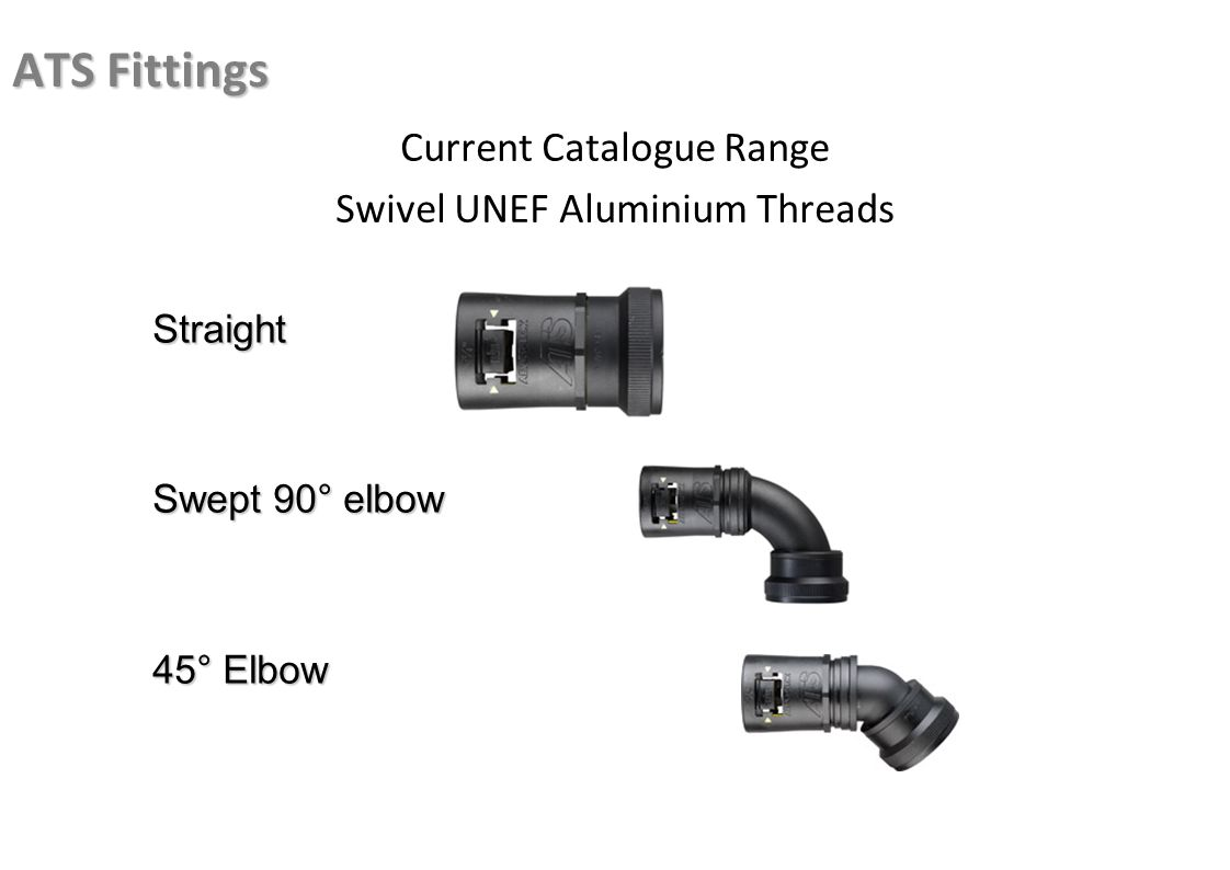 ATS Fittings Current Catalogue Range Swivel UNEF Aluminium Threads Straight Swept 90° elbow 45° Elbow