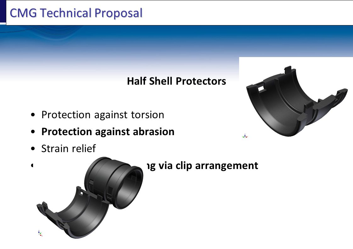 CMG Technical Proposal Half Shell Protectors Protection against torsion Protection against abrasion Strain relief Easy fix and positioning via clip arrangement