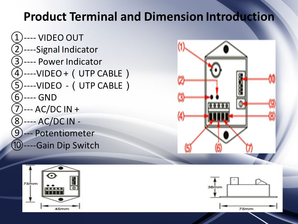 Product Terminal and Dimension Introduction ---- VIDEO OUT ----Signal Indicator ---- Power Indicator ----VIDEO + UTP CABLE ----VIDEO - UTP CABLE ---- GND --- AC/DC IN AC/DC IN Potentiometer ----Gain Dip Switch