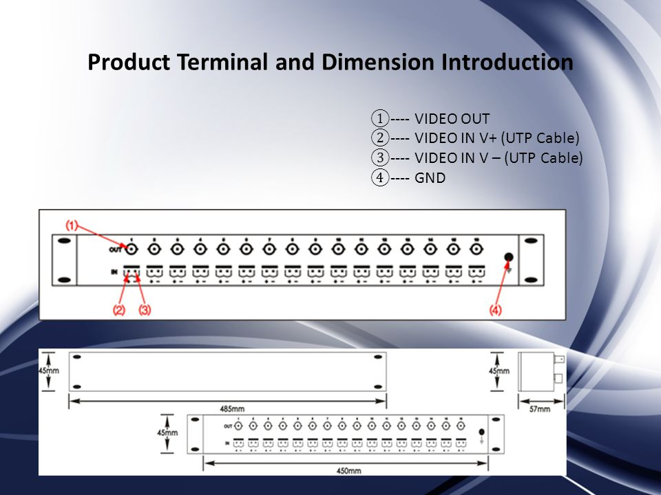 Product Terminal and Dimension Introduction ---- VIDEO OUT ---- VIDEO IN V+ (UTP Cable) ---- VIDEO IN V – (UTP Cable) ---- GND